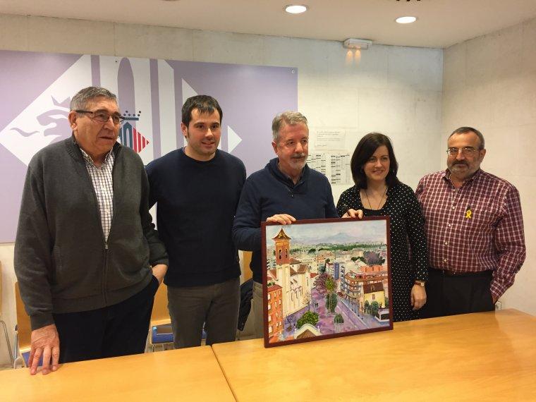 Costa, Escolà, Maldonado, Vila i Lluis amb l'obra cedida als Premis.