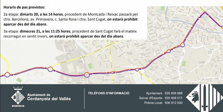 Mapa del pas de la Volta Ciclista a Catalunya per Cerdanyola