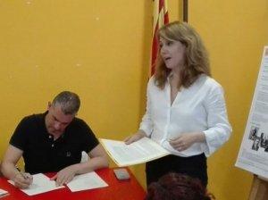 Helena Solà durant l'assemblea d'ERC el 22 de maig