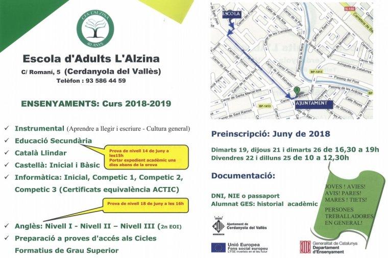 Fulletó informatiu dels cursos de L'Alzina
