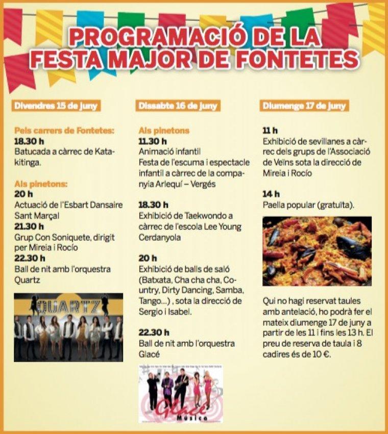Programa de la Festa Major de Les Fontetes