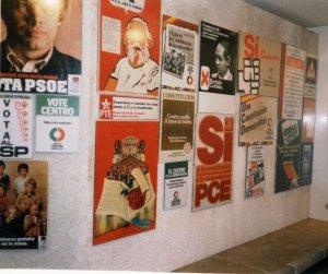 Cartells dels partits polítics per la campanya de votació de la Constitució del 78