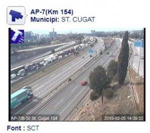 Imatge de la situació a l'AP-7 del Servei Català de Trànsit