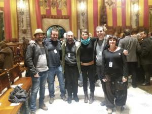 L'alcalde Carles Escolà amb altres alcaldes al Saló de Cent de l'Ajuntament de Barcelona