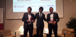 Els dos empresaris d'èxit amb el president de Cerdanyola Empresarial, Jaume Maranges