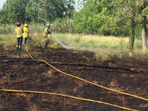Els Bombers actuant a l'incendi de Cerdanyola
