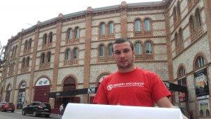 Edgar Fernàndez, diputat de la CUP, aquest dimecres davant la TAP.