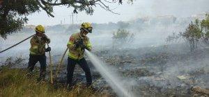 Els Bombers treballant en l'extinció de l'incendi de matolls