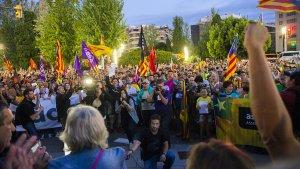 Imatge de la manifestació sobiranista d'aquest vespre a Tarragona.