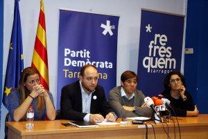 Imatge d'arxiu d'una roda de premsa a la seu local del PDeCAT de Tarragona.