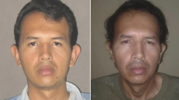 Imagen del rostro del violador colombiano en dos momentos distintos de su vida.