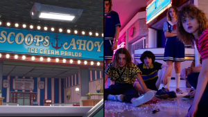 Comparativa entre la heladería de Fortnite y la de Stranger Things.