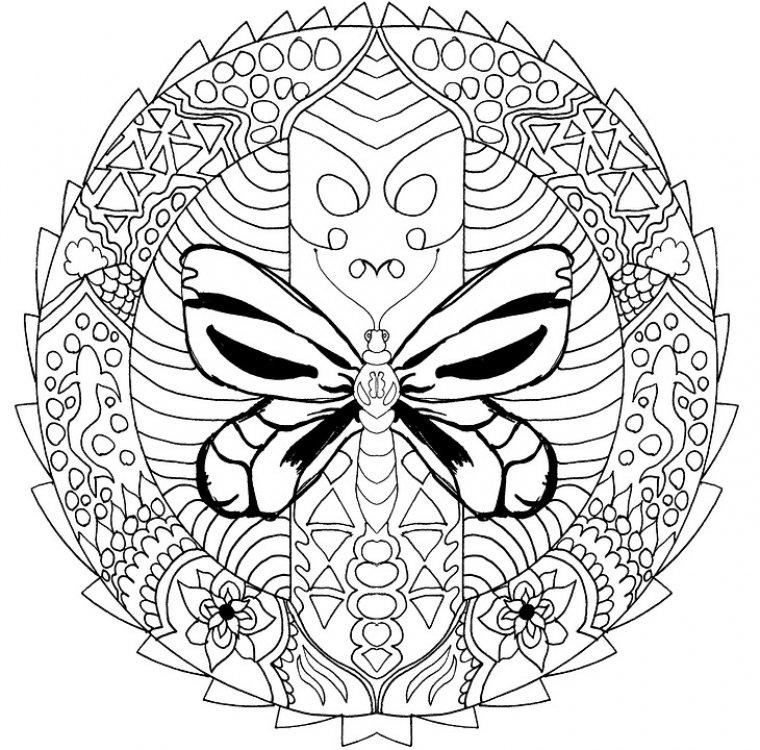 Este mandala de animales representa una mariposa y es de mayor dificultad.