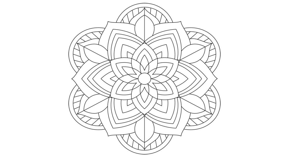 Mandala fácil para colorear en forma de flor
