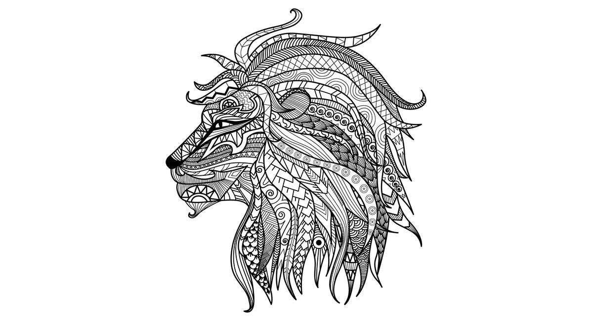 Mandala de un leon para colorear, de alta dificultad.