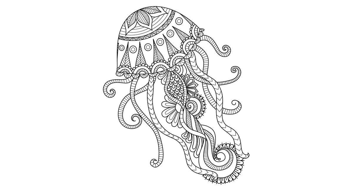 Mandala de una medusa para colorear.