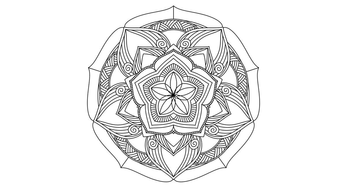 Mandala difícil para colorear en forma de flor.
