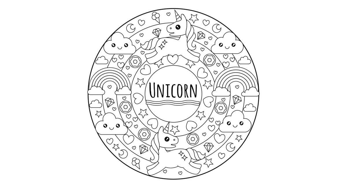 Mandala para colorear para niños, con unicornios, estrellas y corazones.