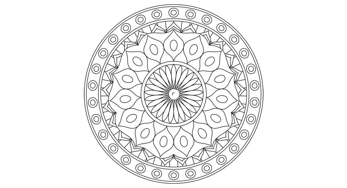 Mandala fácil para colorear circular.