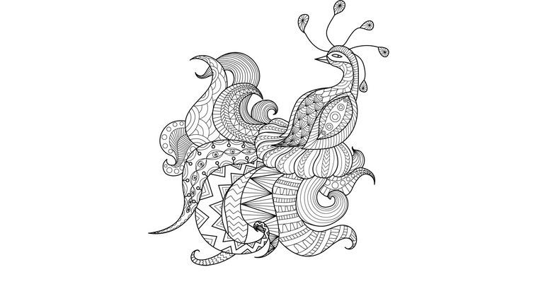 Mandala de un pavo real para colorear.