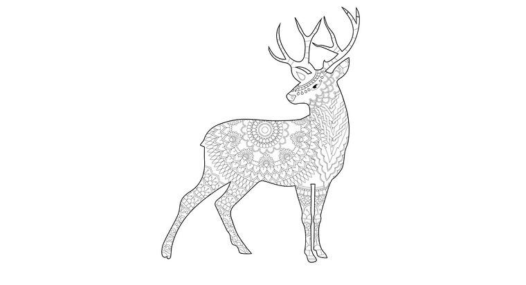 Mandala de un ciervo para colorear.