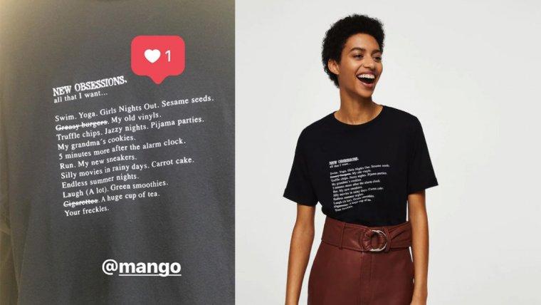 Camiseta mensaje estampado de Mango, por 12,99 euros.