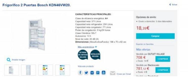 Carrefour pone a la venta un frigor fico de 700 euros a 18 for Frigorificos bosch carrefour