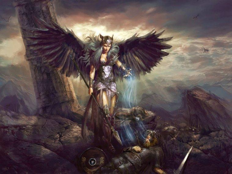 Las Valkirias recogen el alma de los guerreros muertos heroicamente en la batalla