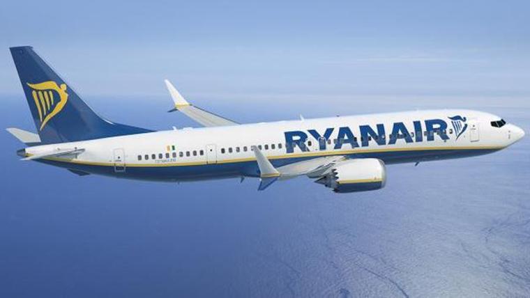 Imatge d'un avió de Ryanair.