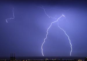 Llamps durant la tempesta d'ahir al vespre a Barcelona