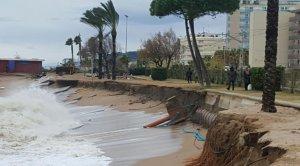 Imatge de la platja de Pineda de Mar després del temporal