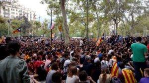 Imatge de la manifestació unitària da la Plaça Universitat