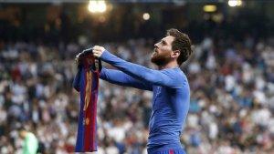 Messi després de marcar un gol al Bernabéu