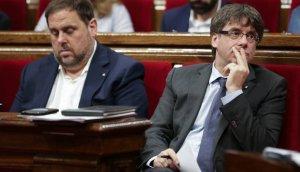 Oriol Junqueras i Carles Puigdemont al Parlament de la Generalitat