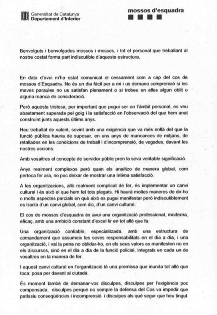 La carta que el major dels Mossos ha fet arribar als agents del cos.