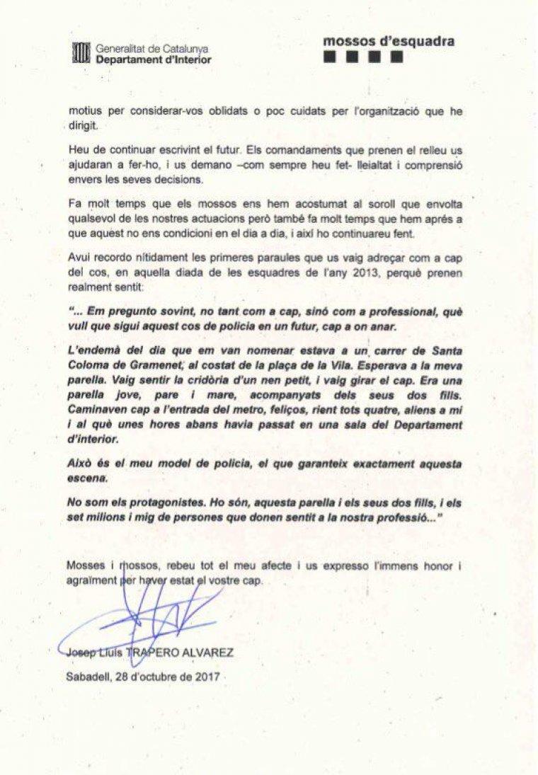 Les paraules que el director dels Mossos ha dedicat als agents després de la seva cessió