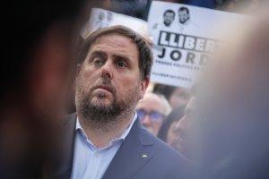 Oriol Junqueras durant la concentració del 21-O a Barcelona en contra dels empresonaments dels «Jordis»