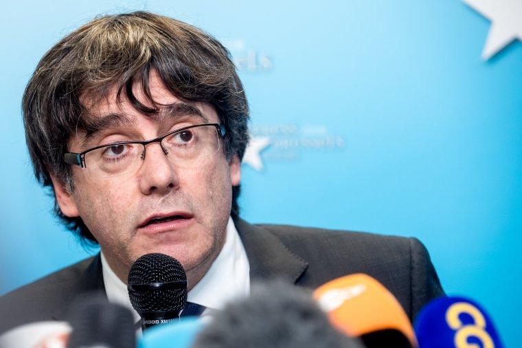 Carles Puigdemont durant la roda de premsa a Brussel·les