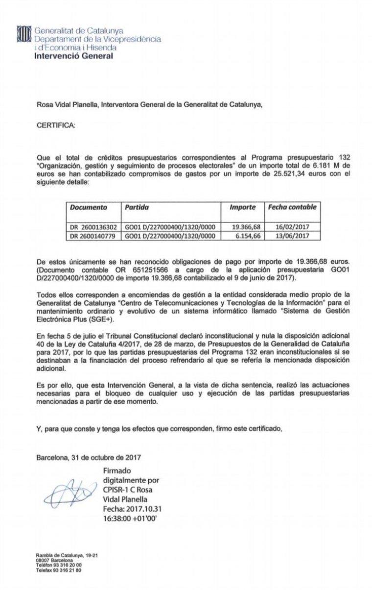 El document amb les despeses del referèndum.