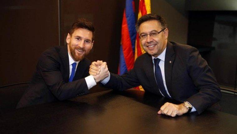 Imatge de Leo Messi i Josep Maria Bartomeu