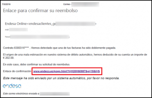 Imatge del correu fraudulent que simula ser d'Endesa