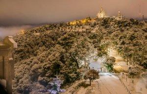 La zona del Tibidabo durant la passada nevada