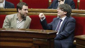 Toni Comín i Carles Puigdemont, al parlament de Catalunya
