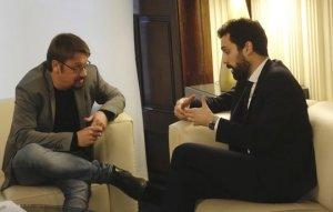 Xavier Domènech i Roger Torrent durant la reunió d'avui