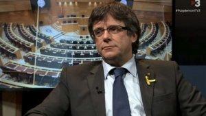 Carles Puigdemont durant la seva entrevista a TV3