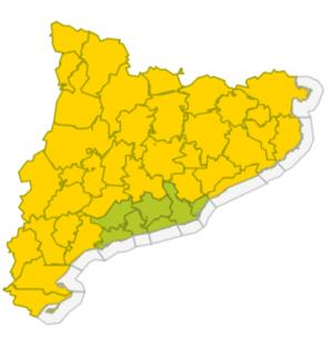 Mapa d'avisos activats pel SMC per dissabte