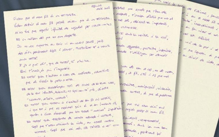 Imatge de la carta que ha enviat la mare a Catalunya Ràdio.