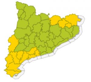 Mapa d'avisos per aquest dimarts a Catalunya