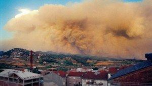 Imatge del gran incendi del 1994 des de Berga