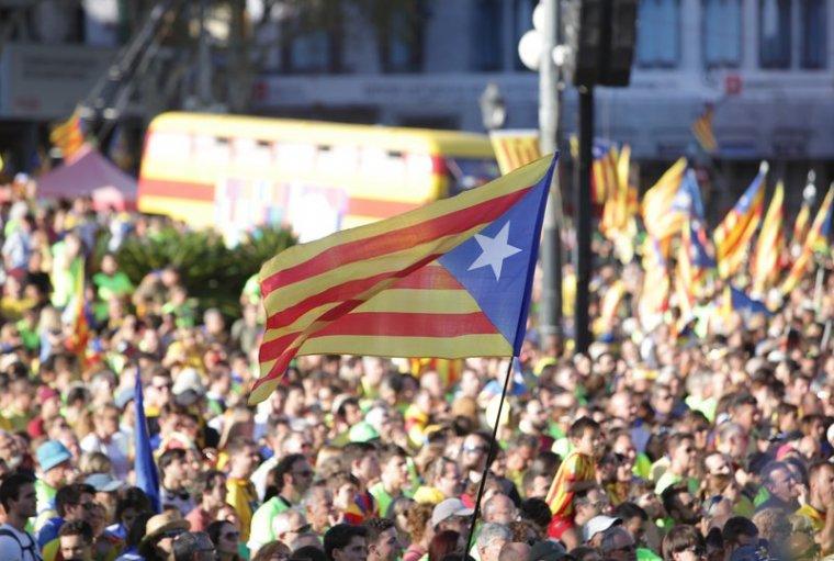 Imatge d'una concentració en favor de la independència de Catalunya